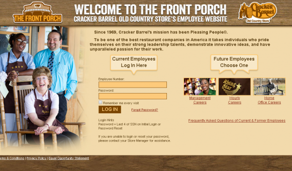 Cracker Barrel Employee Website - Front Porch Schedule Login